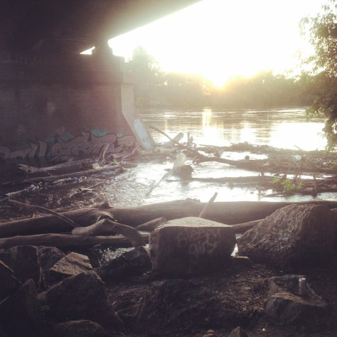 Hobo sunset beer spot: Under a train bridge along the Mississippi River
