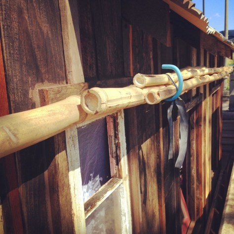 Bamboo poles.