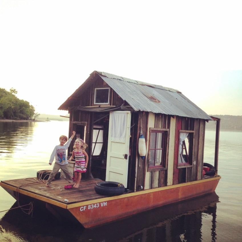 Logan and Emilia aboard the shantyboat