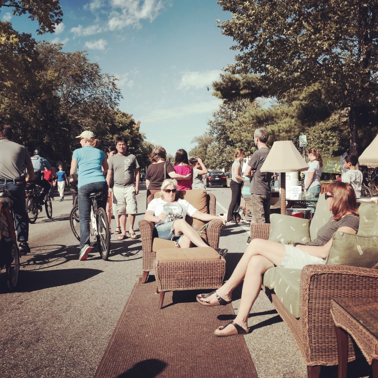Alternative seating was moved out into the street