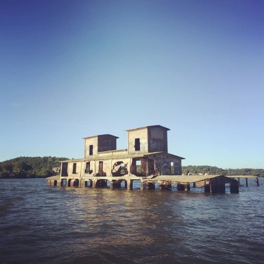 Old Danville Grain Elevator submerged by the inundated Tennessee River in the flooded town of Danville