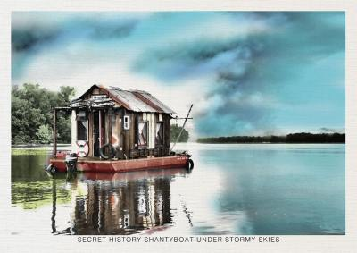 """Secret History shantyboat under stormy skies"