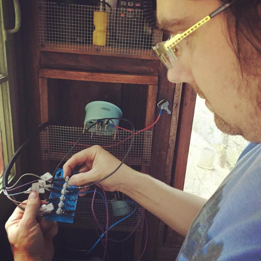 Miah wires up our homemade wiring post for gauge panel