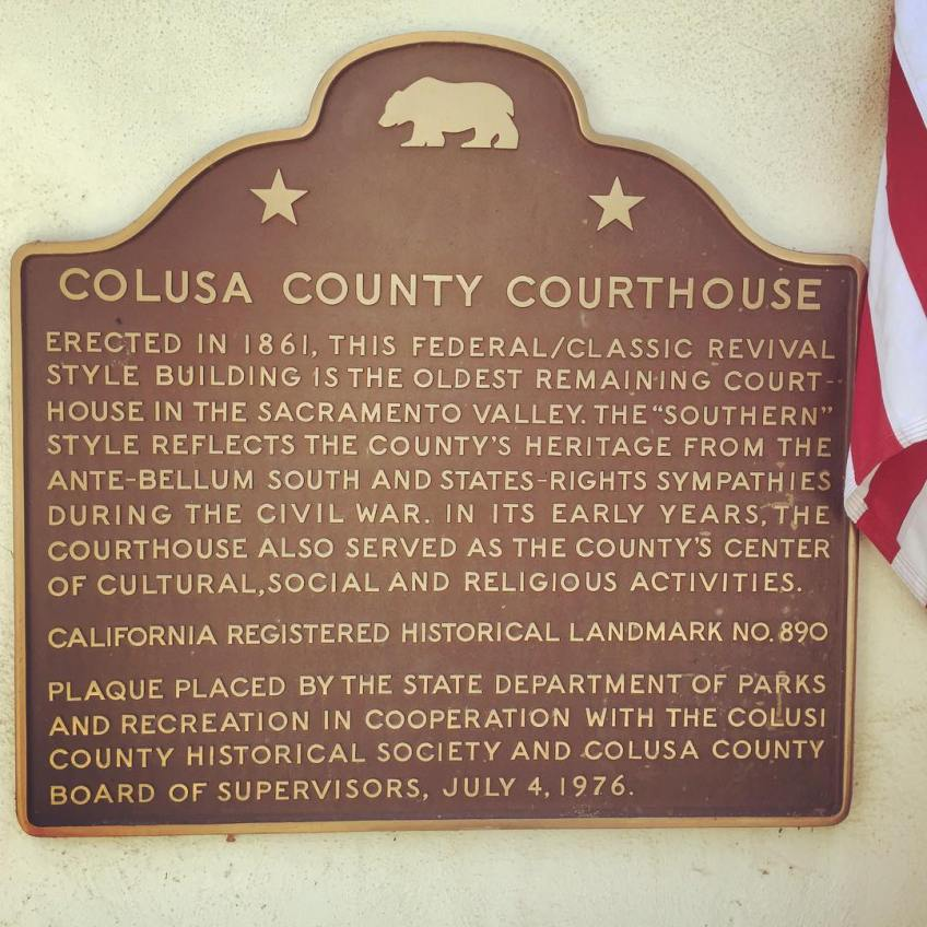 """County's heritage from the ante-bellum South and states-rights sympathies"" is a bit of an understatement. In fact, Colusa County, a mostly rural Southern Democrat county, voted for California to secede from the Union. When Lincoln was assassinated many in the county celebrated, resulting in the arrests of the most adamant revelers by Union soldiers. While these pro-South sentiments were fairly common in California in the 1860s, here in Colusa it is preserved in the architecture and inscribed on the landscape"