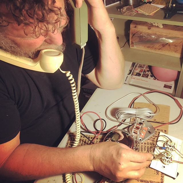 Benzy and I host an impromptu all-night solder party to work on various projects including an intra-boat telephone system for the shantyboat