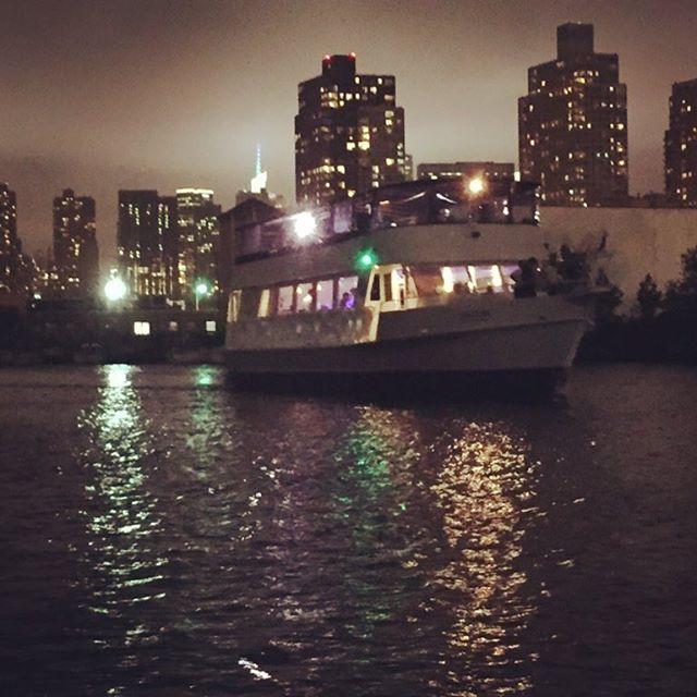 """As we are enjoying a nightcap, a party boat comes up Newtown Creek with what appears to be a boatload of Hasidim dancing to a Klezmer band which breaks into a tune """"Say hello to the shantyboat. Shantyboat! shantyboat!"""" Until they were well out of hearing. WTF? Such a strange and wonderful welcome. #shantyboat #klezmer #music"""