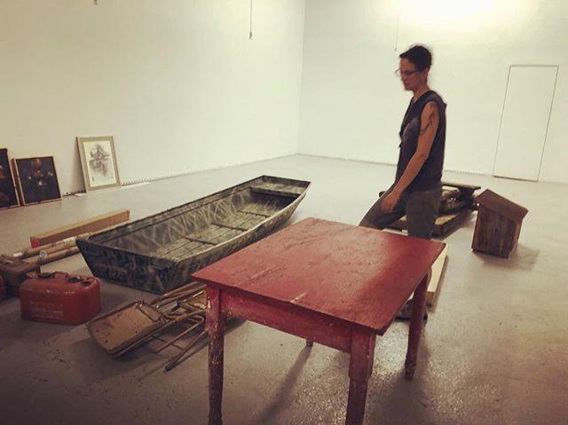 Staging the exhibition. #shantyboat #artshow
