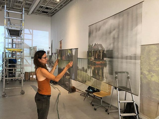 Hanging the show at WhiteBox. Five years of Secret History photographs, video, interviews, and artifacts. #shantyboat #artshow #nyc