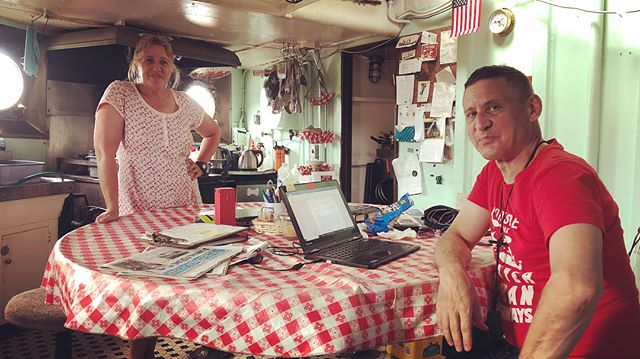 Aboard the Mary A Walen, Carolina and Robert show me around the incredible galley, the engine room and on deck. #Shantyboat #MaryWhalen #NewYorkHarbor #Brooklyn #Redhook #NYC