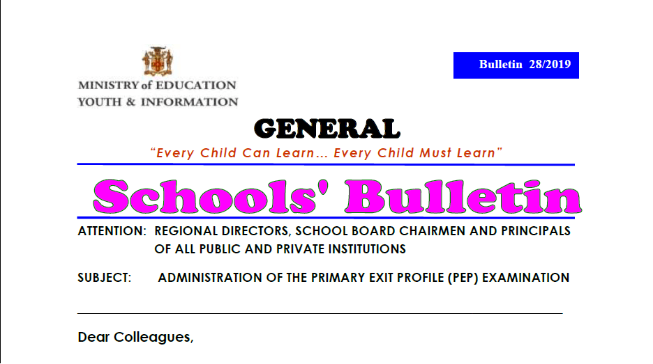 Bulletin 28/2019 – ADMINISTRATION OF THE PRIMARY EXIT PROFILE (PEP) EXAMINATION