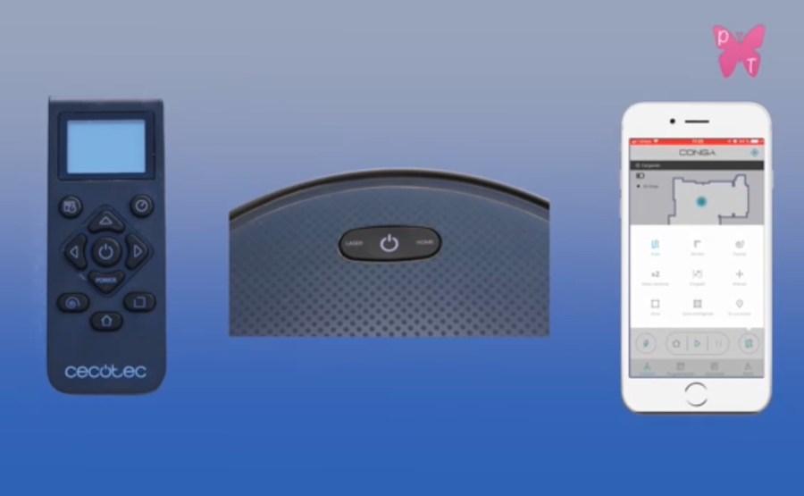 opciones para poner en funcionamiento el robot conga serie 3090: mando a distancia, botones del robot y aplicación móvil