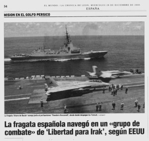 "La fragata española navegó en un grupo de combate de ""Libertad para Irak"" según Estados Unidos"
