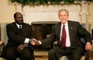Salva Kiir fue recibido por George Bush en la Casa Blanca.