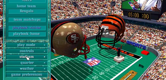 Madden NFL 97 DOS  Configuración del juego de exhibición.