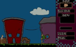 Ulf DOS  La pantalla de inicio. El jugador controla al personaje de la izquierda. En la parte superior derecha hay una mancha rosa que muestra que el arma actual es un puño.