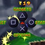 Ape Escape: On the Loose PSP  Menú - aquí puedes ver el estado del nivel y cambiar gadgets y opciones.