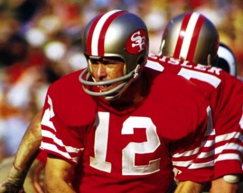 4b97efa62 Quarterback John Brodie (12) of the San Francisco 49ers hands off the ball
