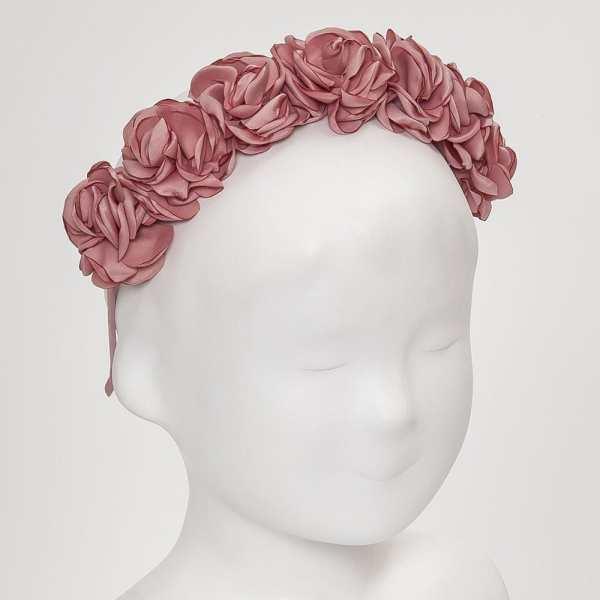 diadema flores saten rosa