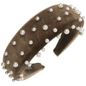 diadema marrón perlas