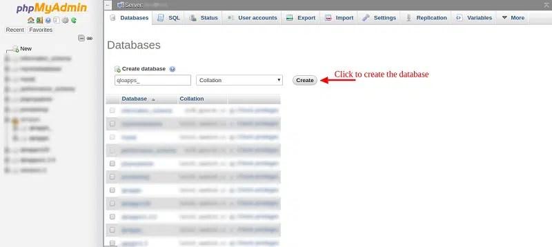 phpmyadmin database create 2