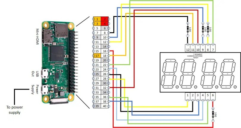 4 digit 7 segment display RPI wiring