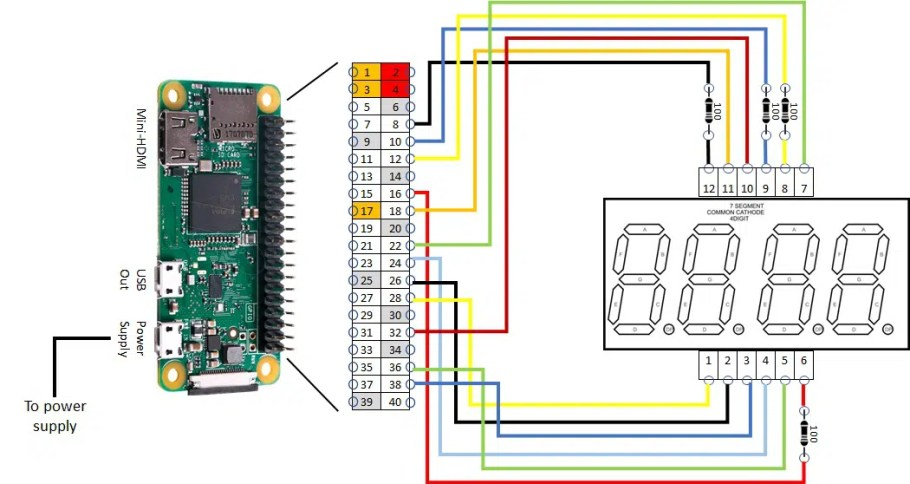 4 digit 7 segment display RPI wiring
