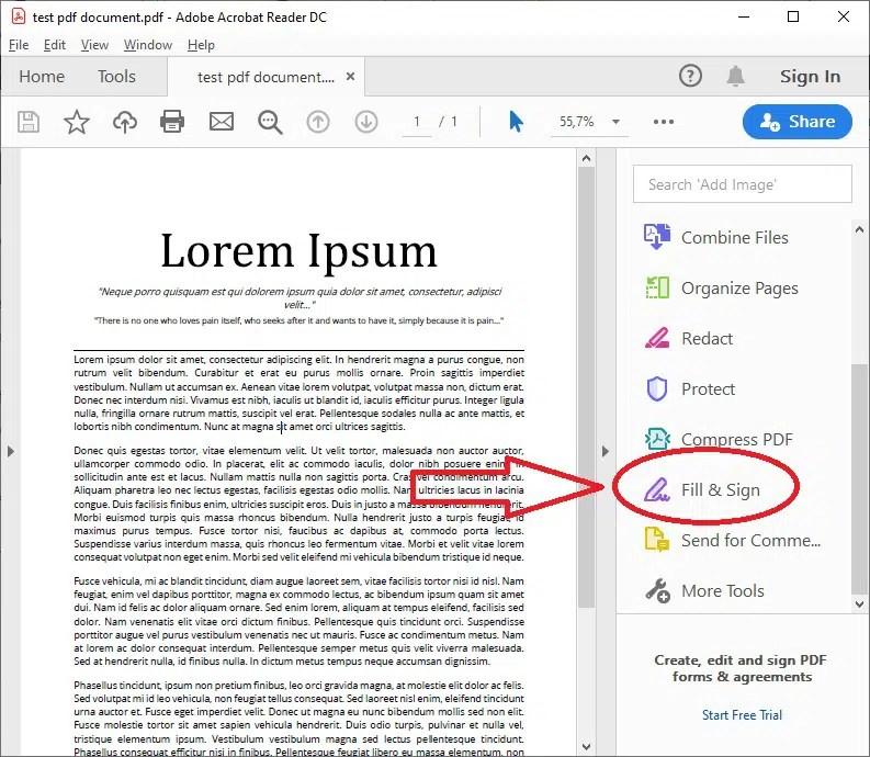 Adobe Reader select fill_sign