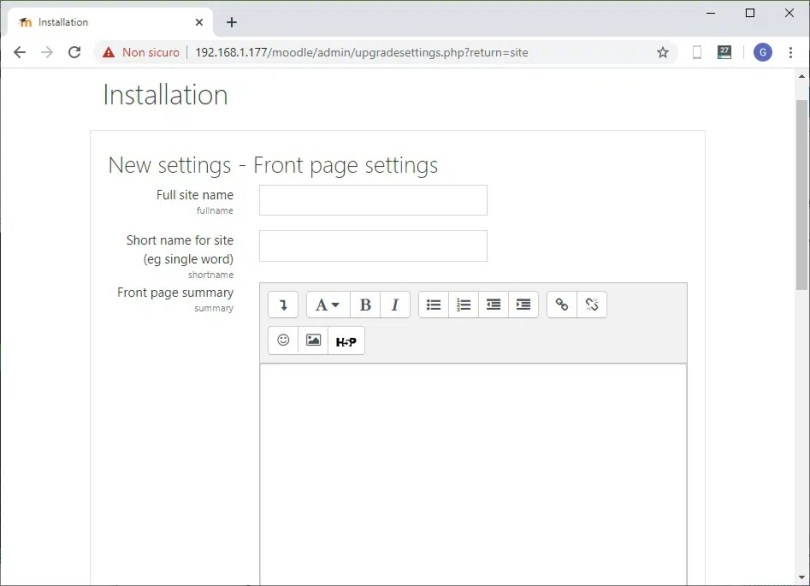 Moodle web installation front page settings