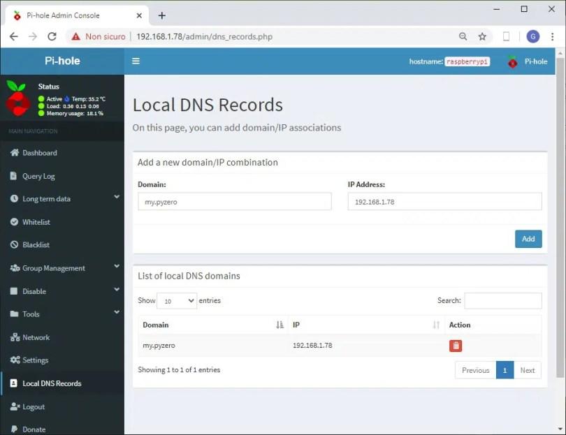 Raspberry PI pihole web admin local dns records