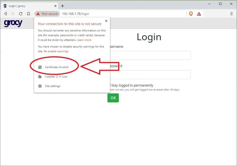 Grocy Login page on https without valid certificate