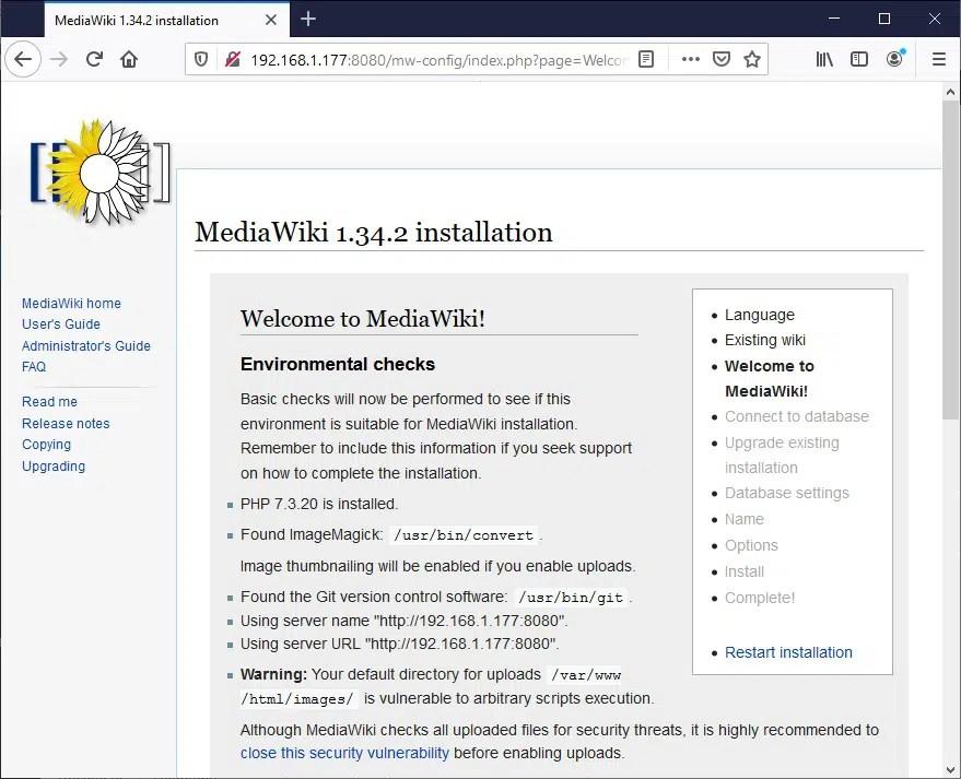 Raspberry PI Mediawiki check warning