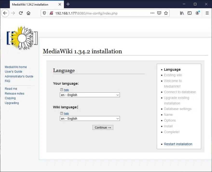 Raspberry PI Mediawiki language setup