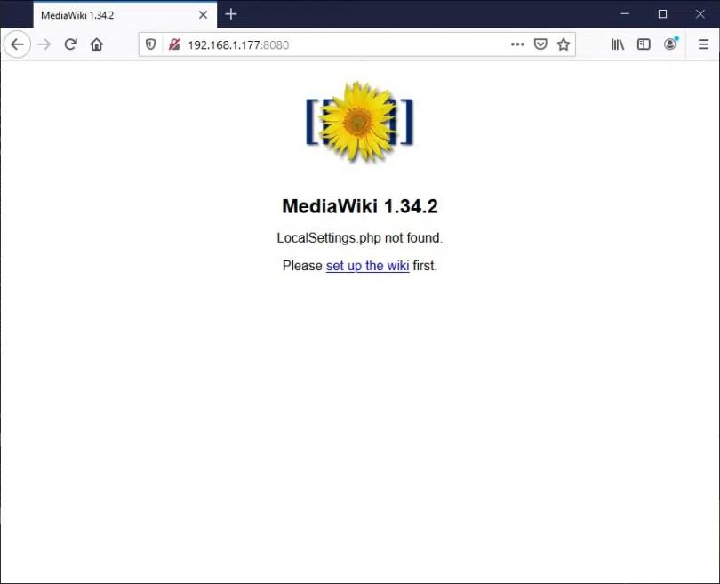Raspberry PI Mediawiki start first setup
