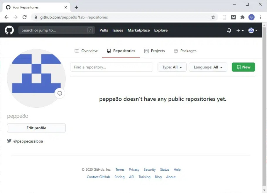 GitHub Repositories empty page