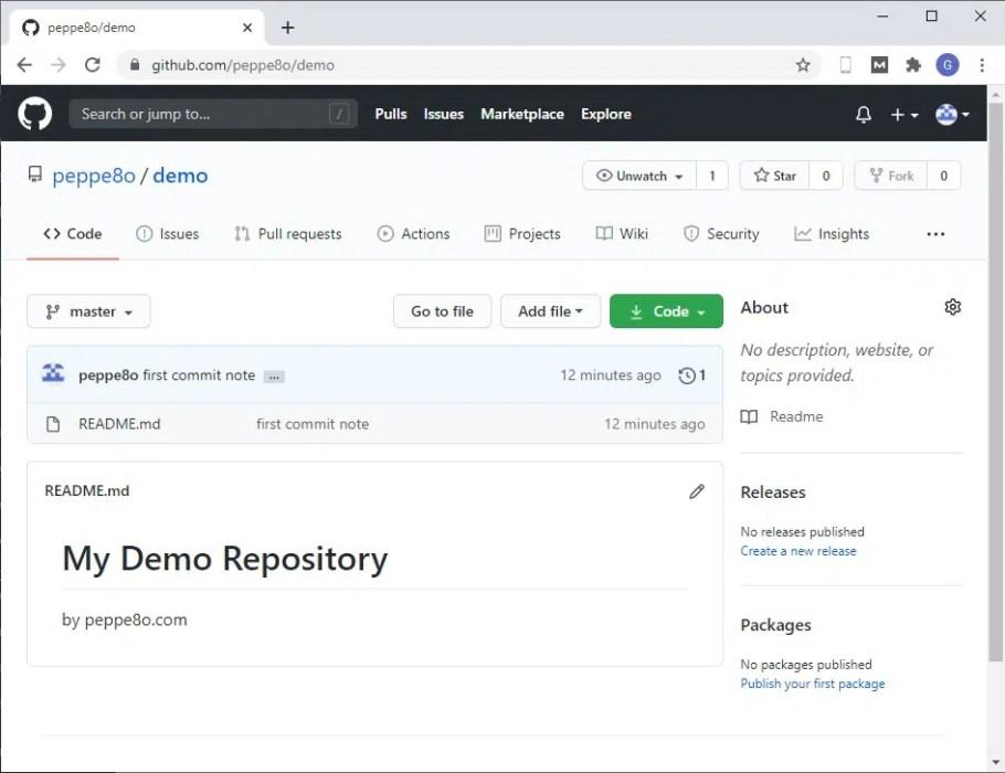 GitHub git demo readme pushed
