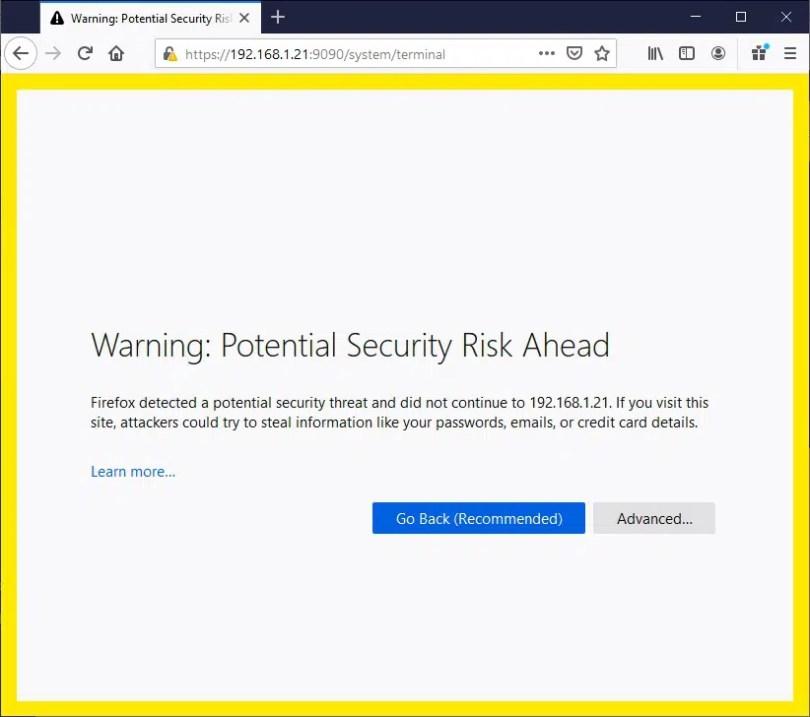 NEMS boot certificate warning