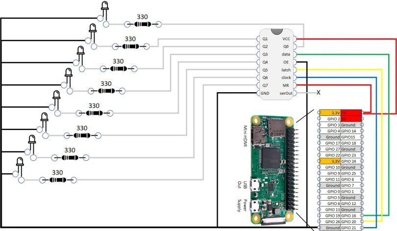 RPI Shift register wiring diagram