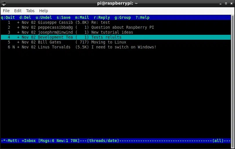 Mutt terminal email client home