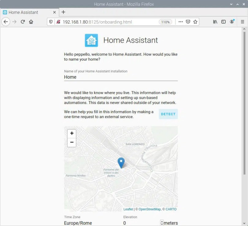 home assistant first access home settings