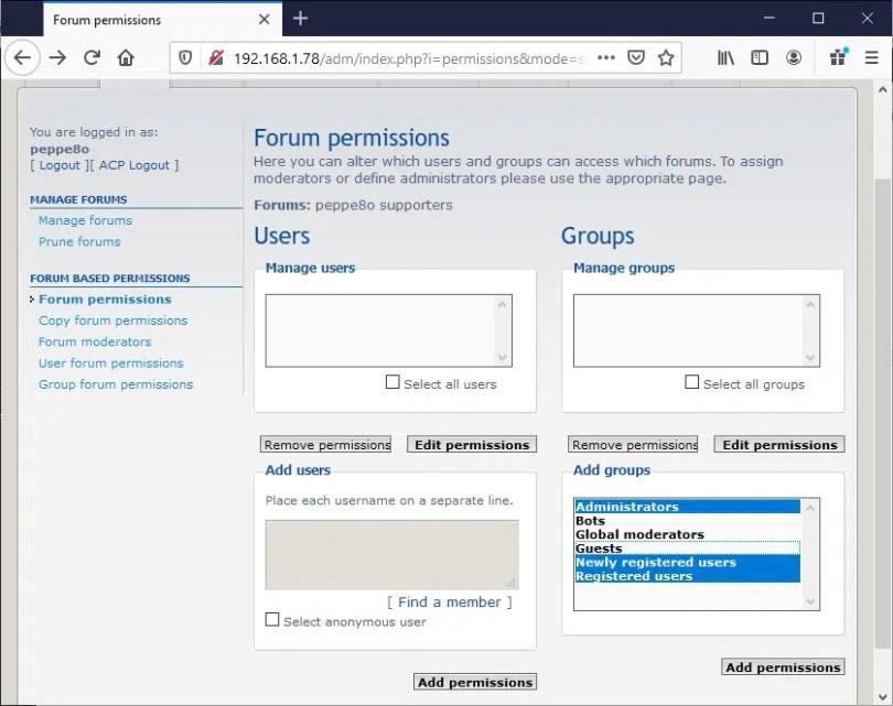 phpBB ACP Forums permissions