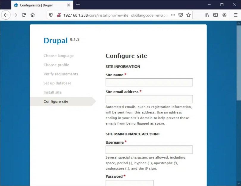 Raspberry PI Drupal install - 05 site configuration