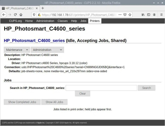 Raspberry PI CUPS Add HP Photosmart C4680 - successfull completed