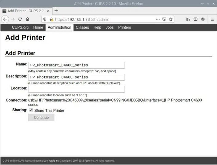 Raspberry PI CUPS Add HP Photosmart C4680