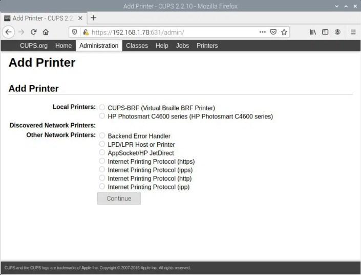 Raspberry PI CUPS Add Printer