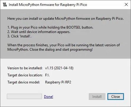 Thonny install micropython for raspberry pi pico done
