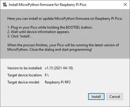 Thonny install micropython for raspberry pi pico warning