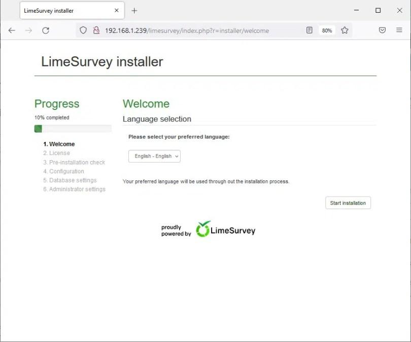 Raspberry PI limesurvey install 01 welcome