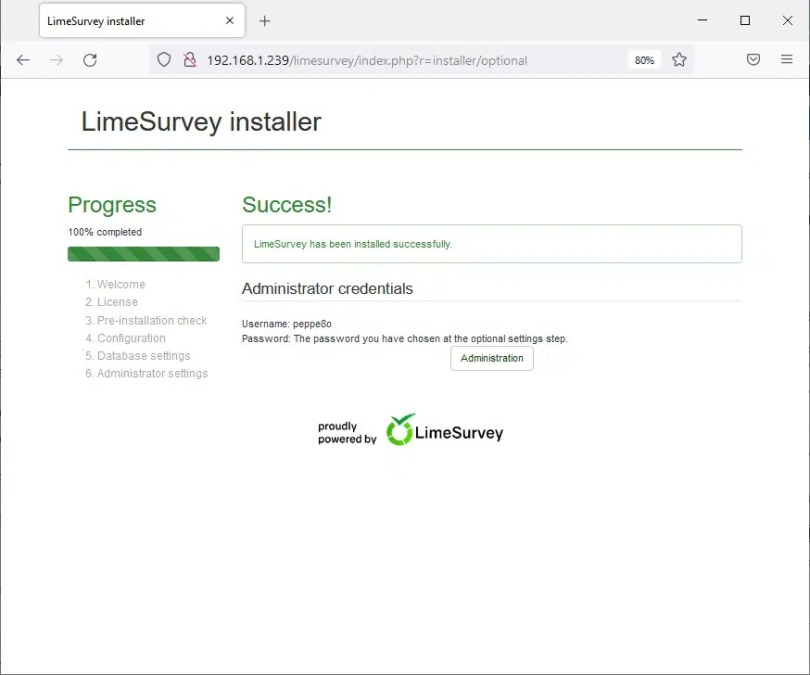 Raspberry PI limesurvey install 07 completed