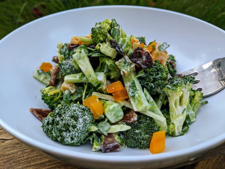 ORGANIC BROCCOLI BACON SALAD with DRIED APRICOTS & CRANBERRIES