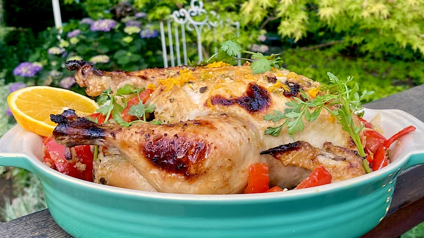 MOJO ROASTED CHICKEN  with PEPPERS & SWEET ONION